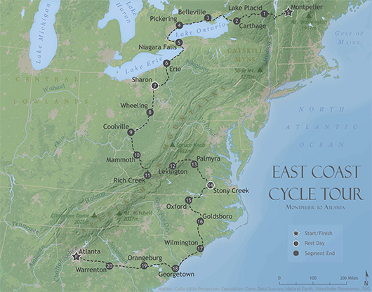 East Coast bicycle map
